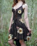 Women's Slim Irregular Hem Sunflower Butterfly Print Dress
