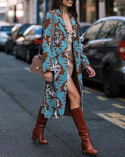 Fashion Printed Long Sleeve Elegant Overcoat
