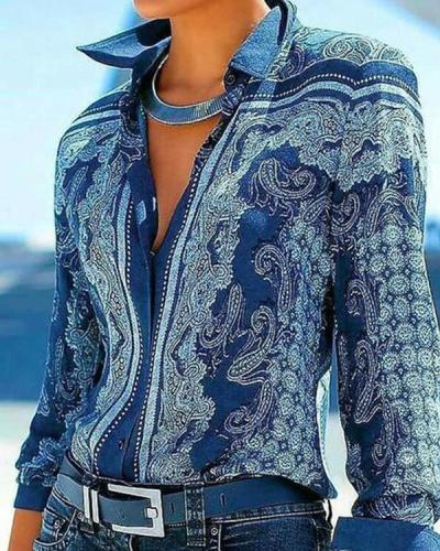 Vintage Print Floral Lapel Long Sleeves Button Up Casual Blouses