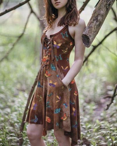 Women's Slim Irregular Butterfly Print Dress