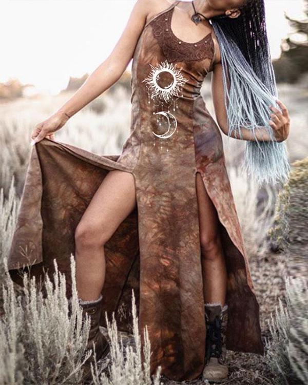 Women's Retro Dyeing Lace Sun and Moon Print Split Dress