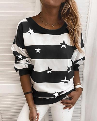 Stripe Star Print Casual Round Neck Daily Sweatshirt