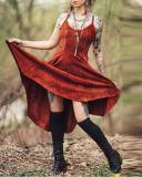 Vintage Pocket Irregular Hem Dress