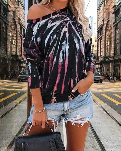 Women Daily Tie Dye Long Sleeves Sweatshirts