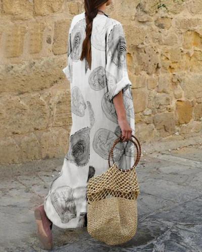 Casual Printed 3/4 Sleeve Loose Maxi Dress