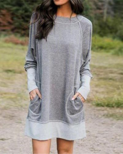 Plus Size Long Sleeve Pocket Casual Blouses Dresses