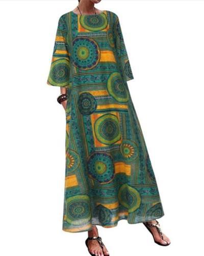 Vintage Printed O-neck Side Pockets Long Sleeve Maxi Dress
