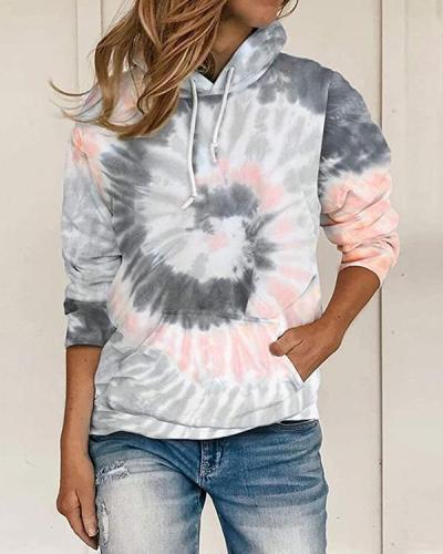 Women Daily Tie Dye Long Sleeve Hoodies