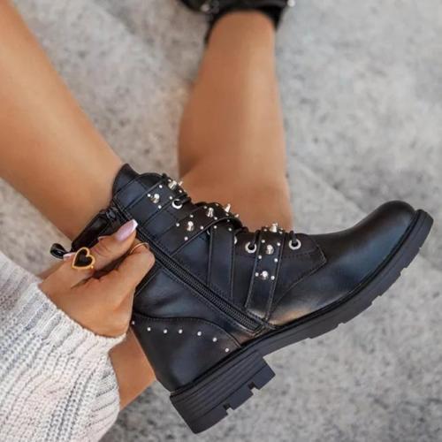 Women PU Rivet Buckle Boots