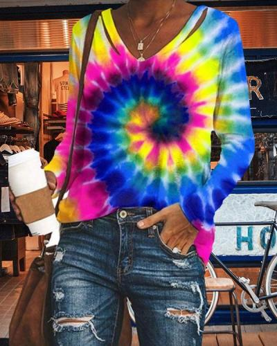 Women V-neck Casual Tie Dye Shirts