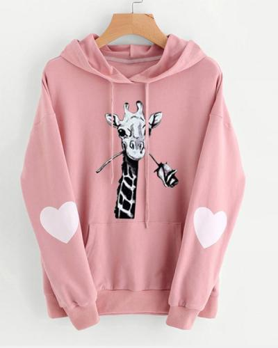 Women Print Casual Long Sleeve Cute Hoodies