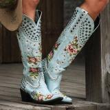 Women Retro Flower Printed High Boots