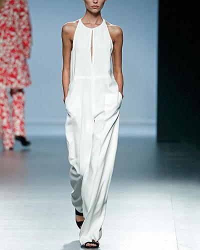 Sleeveless Solid Elegant Jumpsuit