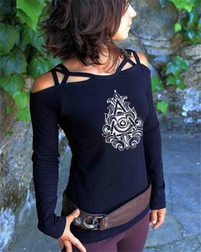 Women's Vintage Print Off-Shoulder Cross Strap Long Sleeve Top