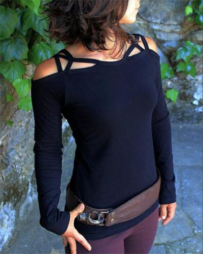 Women's Vintage Off Shoulder Crossover Long Sleeve Top