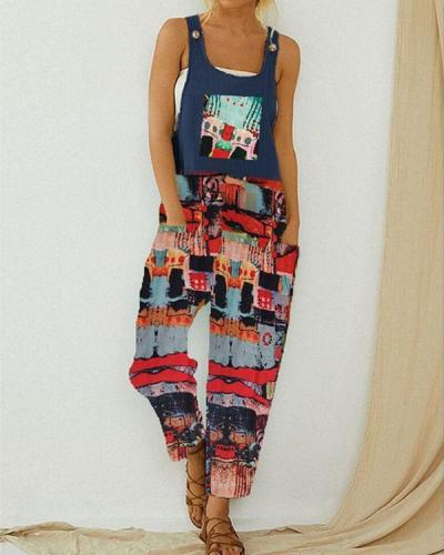 Vintage Printed Straps Jumpsuit With Pocket