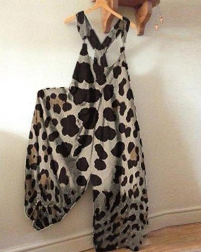 Leopard Printed Casual Sleeveless Pockets Jumpsuit