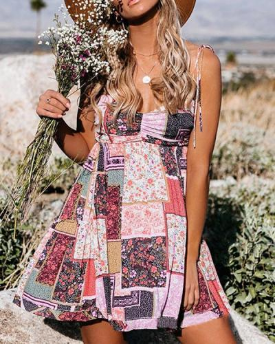 Print Patchwork Sleeveless A-line Above Knee Casual Boho Vacation Dresses