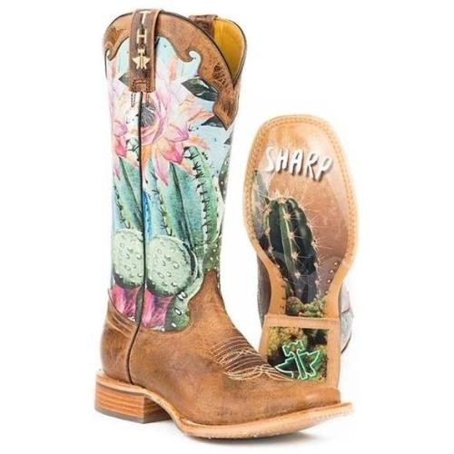Women Flower Printed Long Calf Chunky Heel Boots