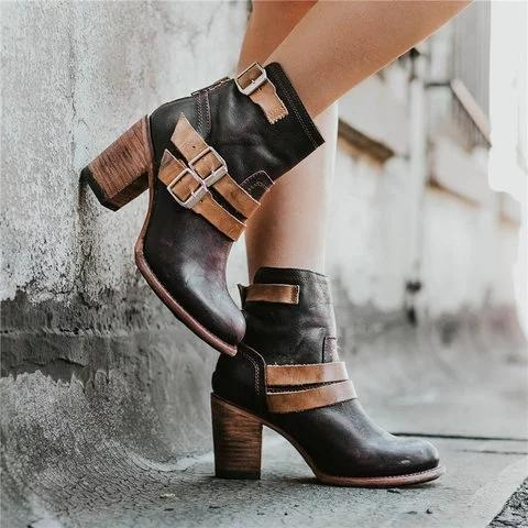 Vintage Stacked Heel Booties Adjustable Buckle Chunky Heel Casual Boots