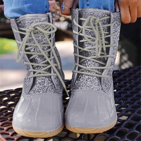 Fashion Paillette Splicing Lace-Up Ankle Boots