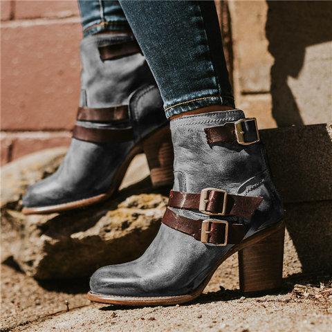 Vintage Stacked Heel Booties Adjustable Buckle Chunky Heel Casual Boots