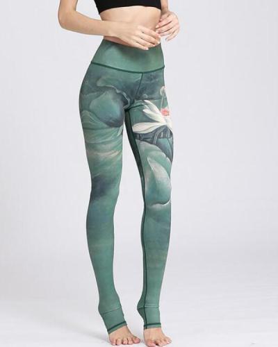 Stretchy Print High Rise Yoga Leggings Four Colors