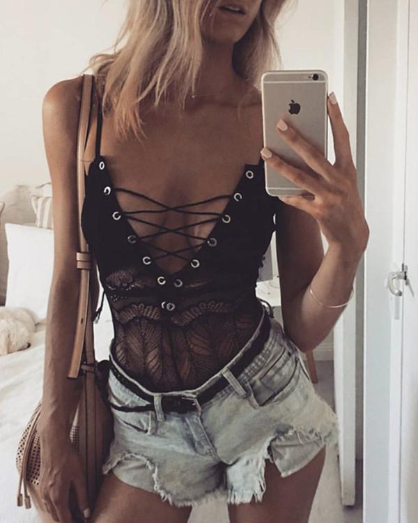 Sexy Lace Lingerie Bodysuit