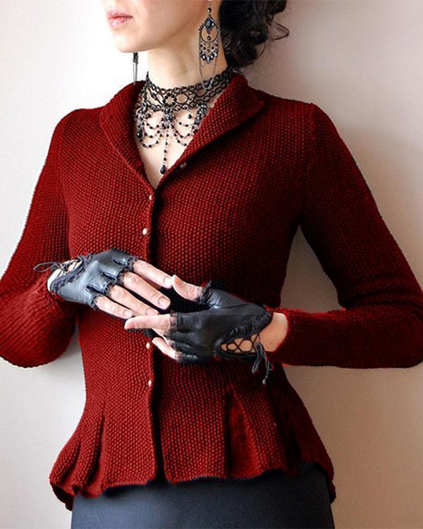 Black Shawl Collar Casual Long Sleeve Outerwear