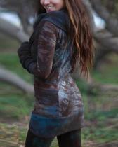 Women's Retro Dyed Hooded Slim-Fit Hoodie