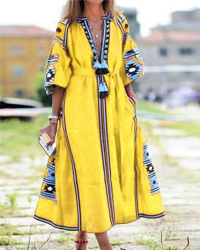 Vacation Tribal Printed Woman Maxi Dresses
