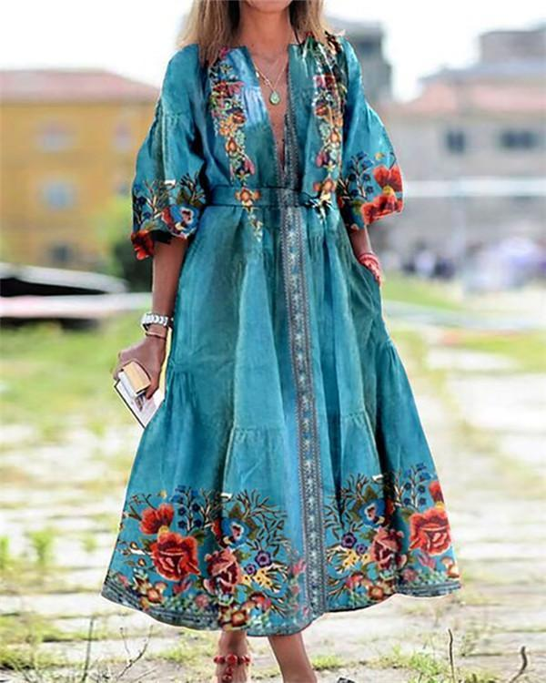 Bohemian Floral Print Plunging Neck 3/4 Sleeves Maxi Dress