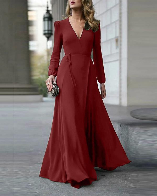 V-Neck Solid Color Maxi Dress