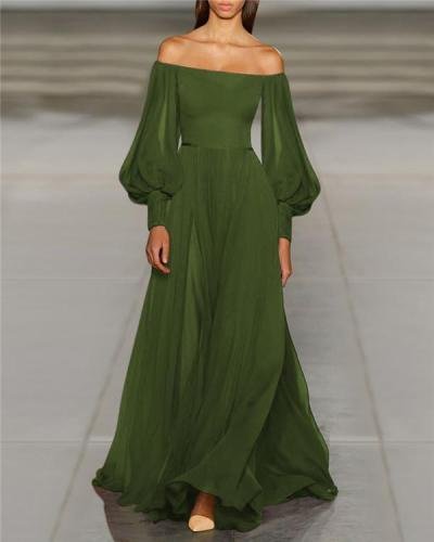 Solid Off Shoulder Elegant Women Fashion Maxi Dresses