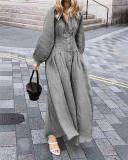 Vintage Casual Fall Lantern Sleeve Casual Fashion Daily Maxi Dress