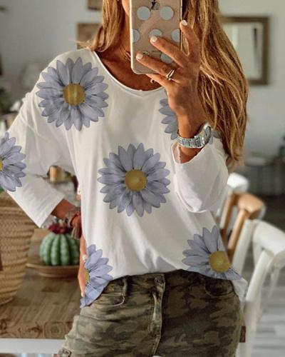 Daisy Printed Long Sleeve T-shirt