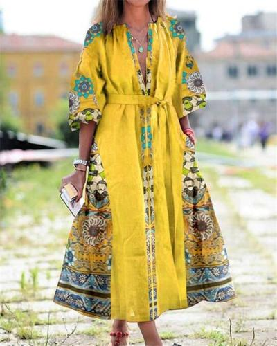 Street Style Pocket Floral Print Maxi Dress