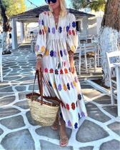Fashion Casual Print V Neck Puff Sleeve Maxi Dresses