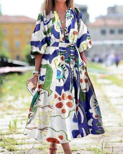 Street Style Casual Print Maxi Dress
