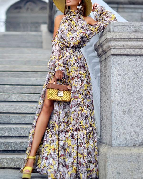 Summer Off Shoulder Floral Elegant Boho Maxi Dress