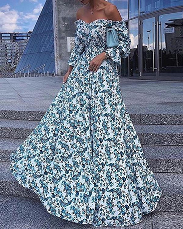 Women Vacation Elegant 3/4 Sleeve Maxi Dress