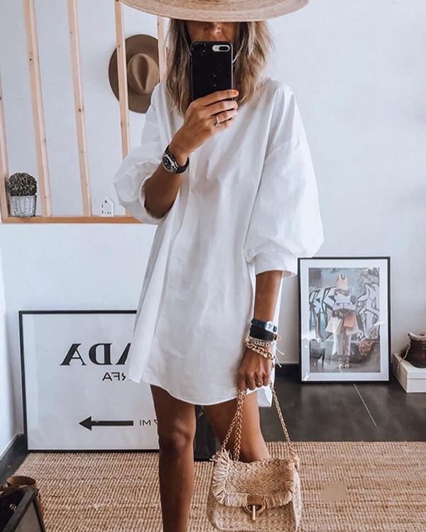 Puff Sleeve Plain Casual Loose Shirt Dress