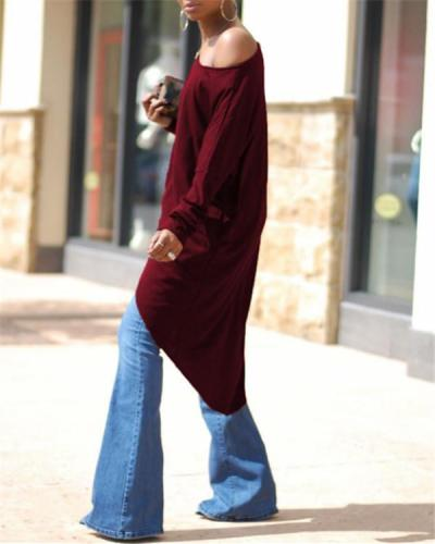One Shoulder Asymmetric Hem Backless High Slit Plain Long Sleeve Blouse