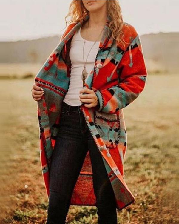 Color-block Boho Patchwork Knitted Outerwear