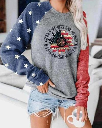 She's A Good Girl Loves Her Mama Loves Jesus And America Too Color Block Top