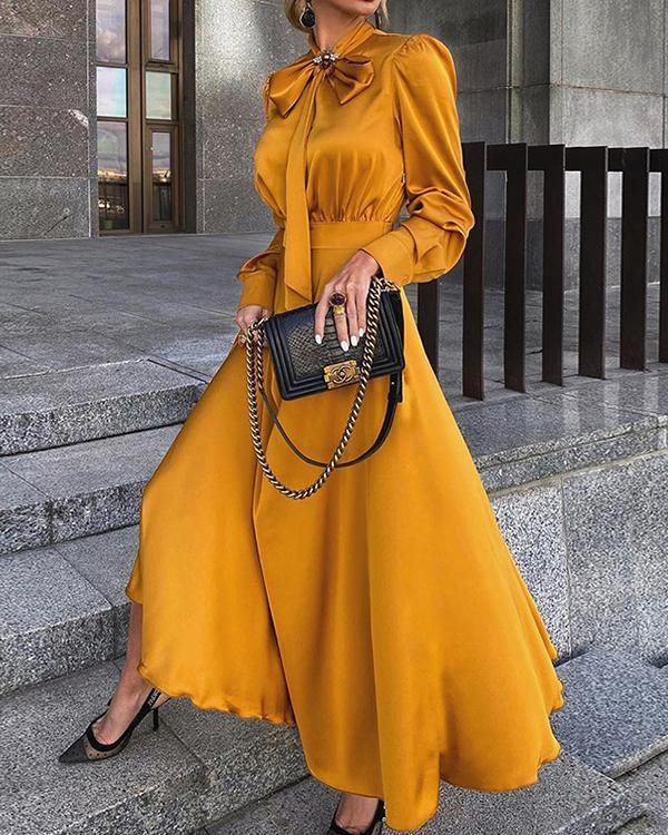 Bow Collar Ankle-Length Long Sleeve Plain Women's Dress