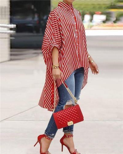 Casual Striped Asymmetrical shirt