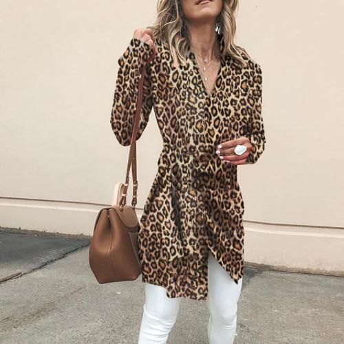 Khaki Cotton Long Sleeve Casual Leopard V neck Cardigan