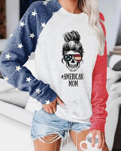 Women America Mom Color Block Tops