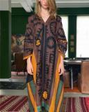 V-Neck Print Embroidered Straight Linen Dress